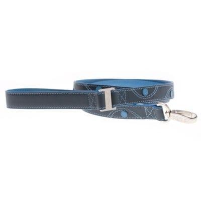 Læderline bred lang blå