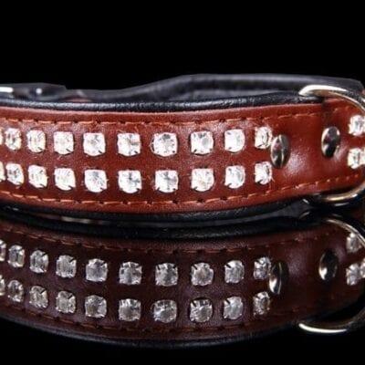 Brunt hundehalsbånd læder
